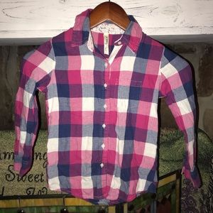 💞4/$15💞Girls Flannel Button up. Size 5/6
